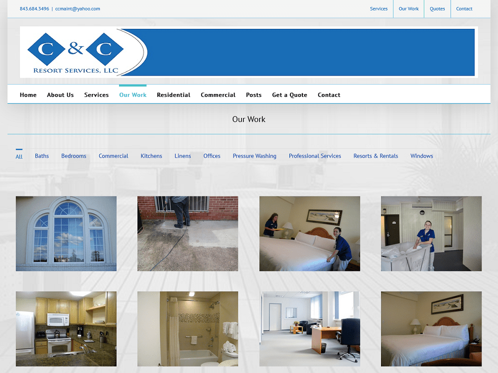 C and C Resort Services, Cleaning Company Website Redesign