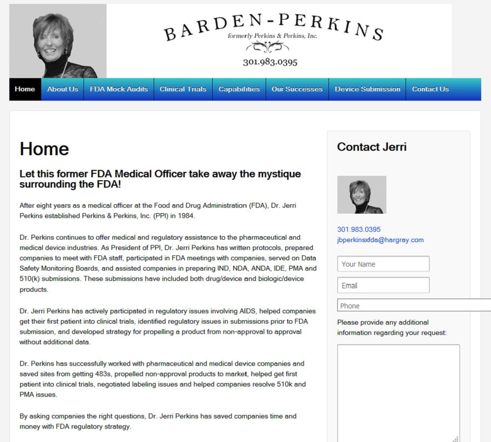 Portfolio - Jerri Perkins, FDA Negotiator, Mock FDA Autits